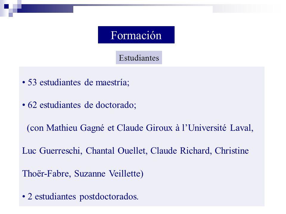53 estudiantes de maestría; 62 estudiantes de doctorado; (con Mathieu Gagné et Claude Giroux à lUniversité Laval, Luc Guerreschi, Chantal Ouellet, Cla