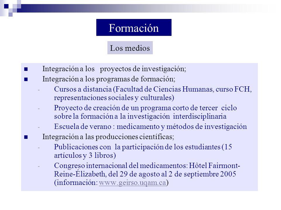 Integración a los proyectos de investigación; Integración a los programas de formación; - Cursos a distancia (Facultad de Ciencias Humanas, curso FCH,