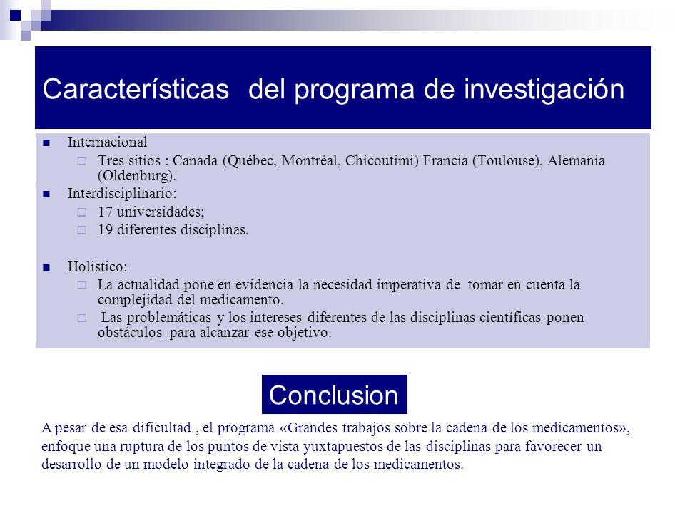 Características del programa de investigación Internacional Tres sitios : Canada (Québec, Montréal, Chicoutimi) Francia (Toulouse), Alemania (Oldenburg).