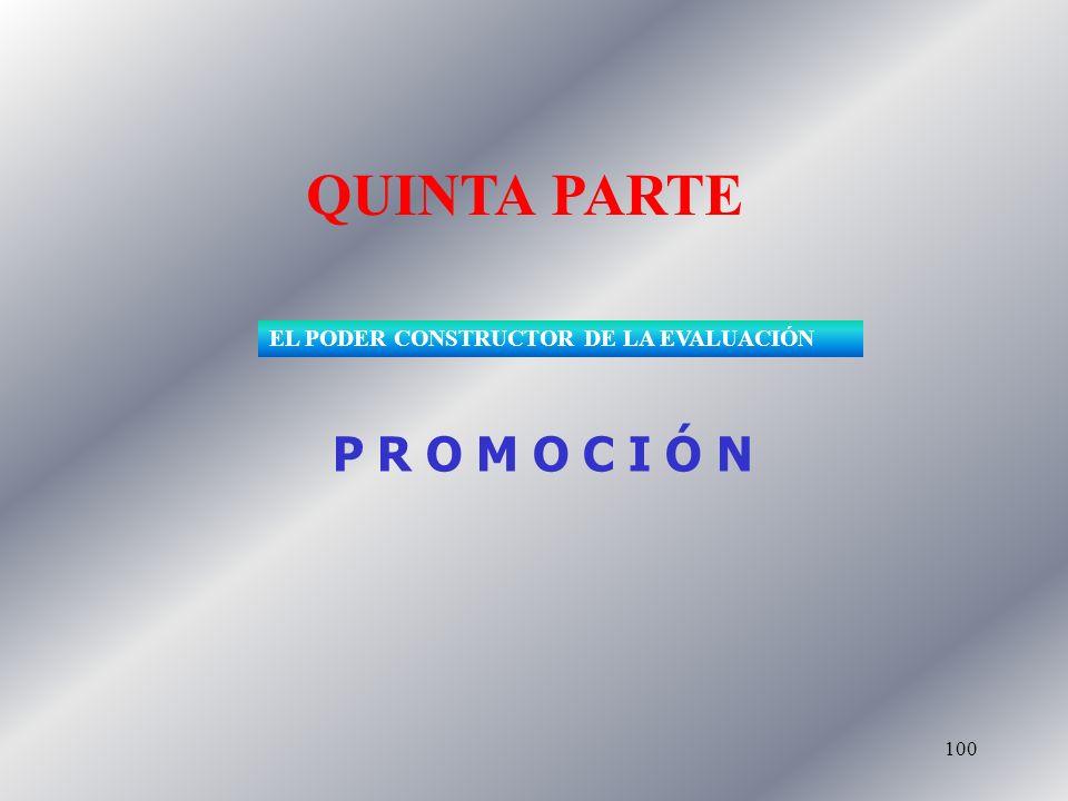 100 QUINTA PARTE P R O M O C I Ó N EL PODER CONSTRUCTOR DE LA EVALUACIÓN