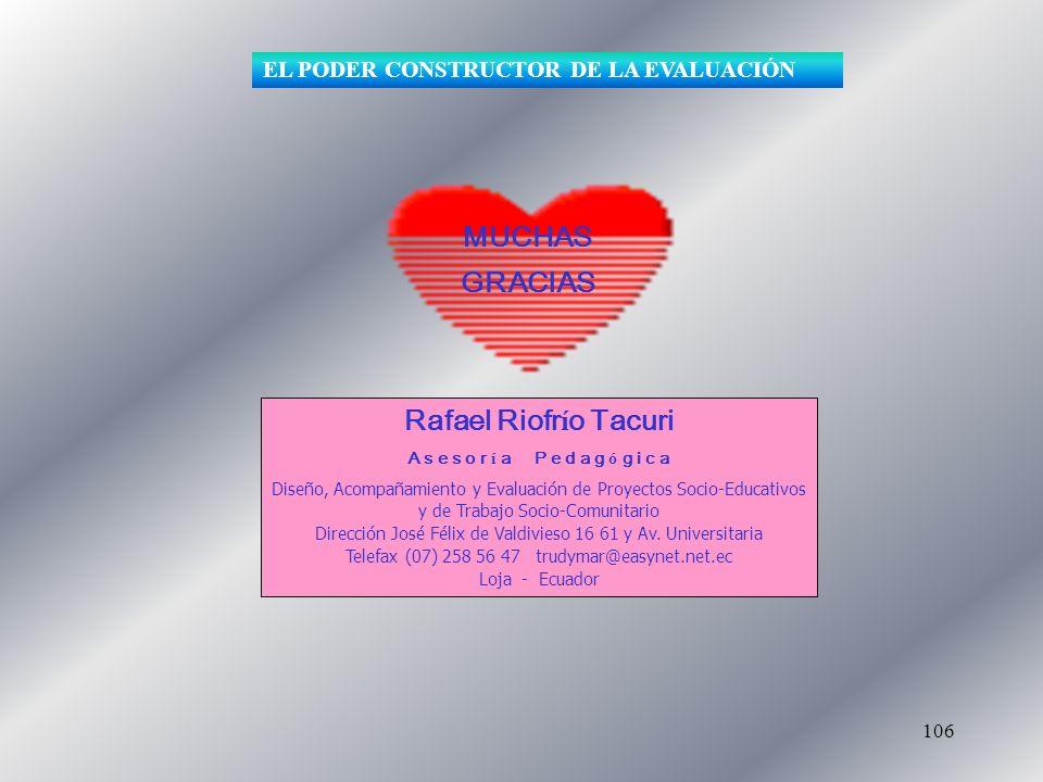 106 Rafael Riofr í o Tacuri A s e s o r í a P e d a g ó g i c a Diseño, Acompañamiento y Evaluación de Proyectos Socio-Educativos y de Trabajo Socio-C