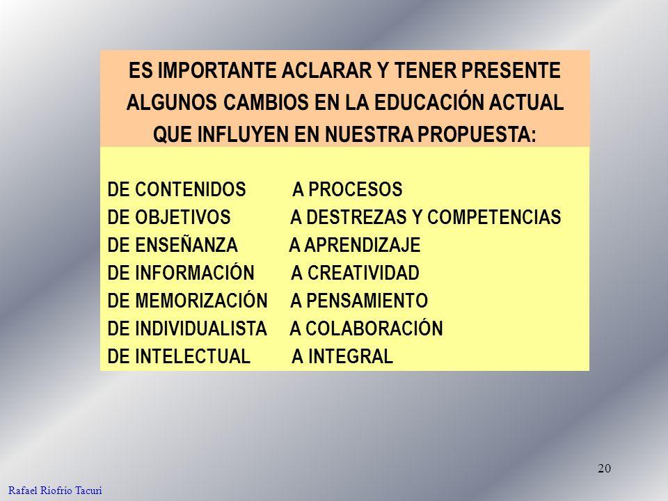 20 ES IMPORTANTE ACLARAR Y TENER PRESENTE ALGUNOS CAMBIOS EN LA EDUCACIÓN ACTUAL QUE INFLUYEN EN NUESTRA PROPUESTA: Rafael Riofrío Tacuri DE OBJETIVOS A DESTREZAS Y COMPETENCIAS DE ENSEÑANZA A APRENDIZAJE DE INFORMACIÓN A CREATIVIDAD DE MEMORIZACIÓN A PENSAMIENTO DE INDIVIDUALISTA A COLABORACIÓN DE INTELECTUAL A INTEGRAL DE CONTENIDOS A PROCESOS