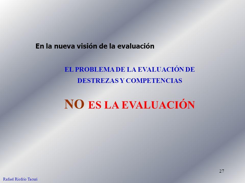 27 EL PROBLEMA DE LA EVALUACIÓN DE DESTREZAS Y COMPETENCIAS NO ES LA EVALUACIÓN En la nueva visión de la evaluación Rafael Riofrío Tacuri