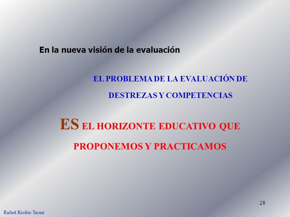 28 EL PROBLEMA DE LA EVALUACIÓN DE DESTREZAS Y COMPETENCIAS En la nueva visión de la evaluación ES EL HORIZONTE EDUCATIVO QUE PROPONEMOS Y PRACTICAMOS