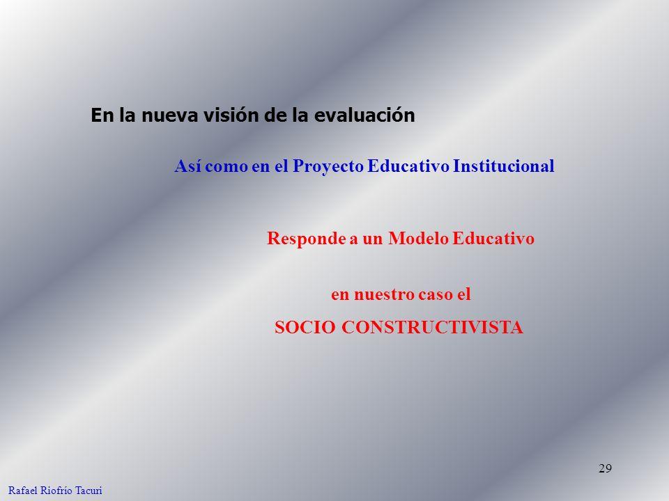 29 Así como en el Proyecto Educativo Institucional En la nueva visión de la evaluación Responde a un Modelo Educativo Rafael Riofrío Tacuri en nuestro