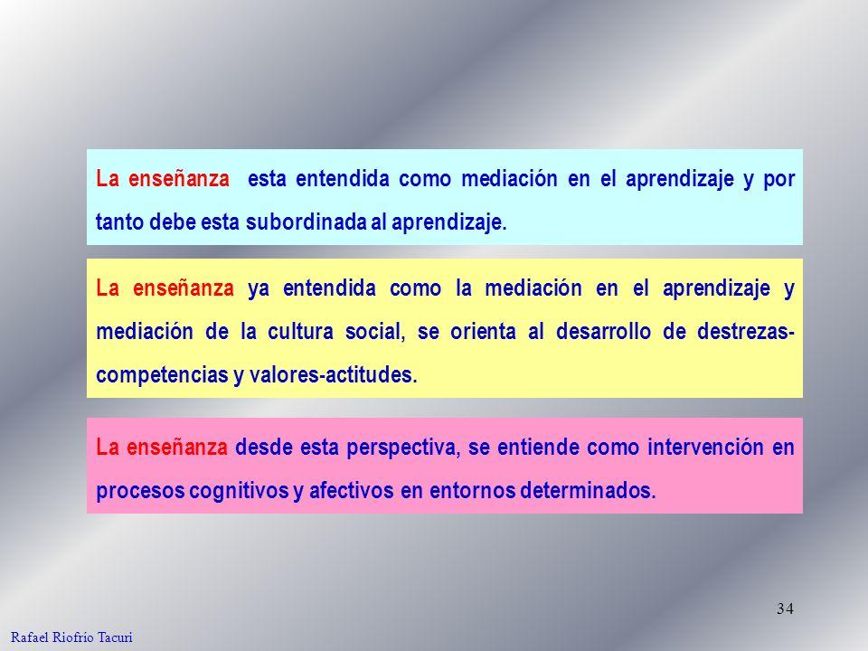 34 La enseñanza esta entendida como mediación en el aprendizaje y por tanto debe esta subordinada al aprendizaje. La enseñanza ya entendida como la me