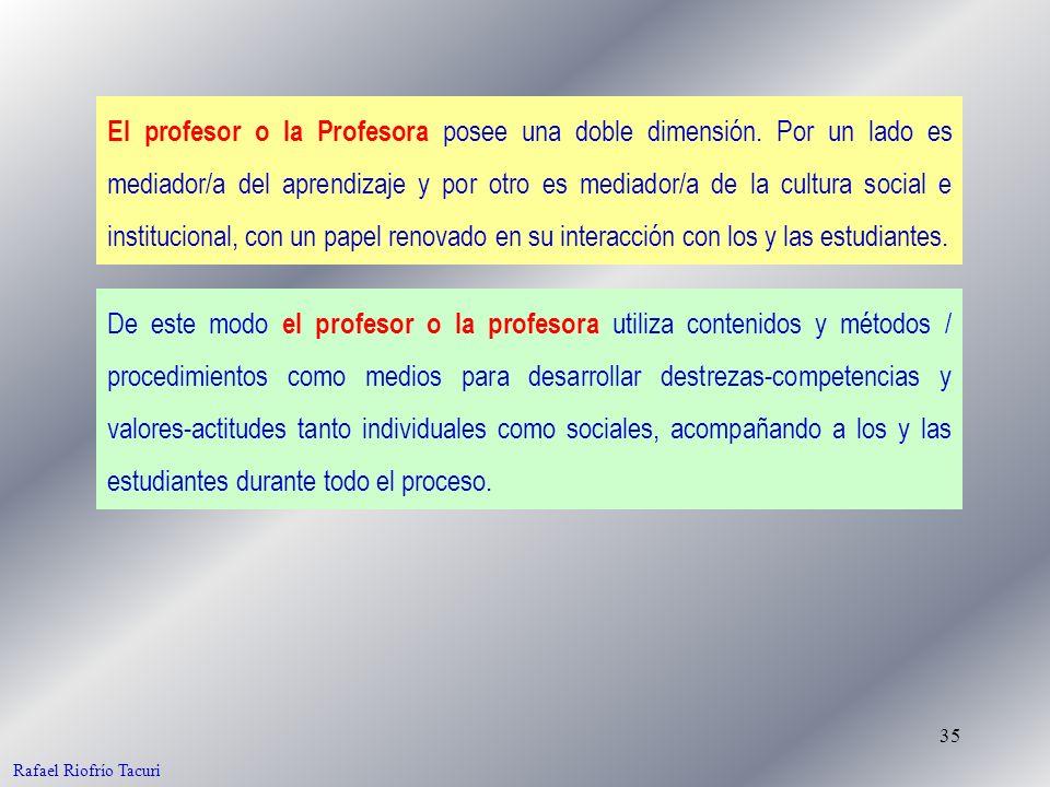 35 El profesor o la Profesora posee una doble dimensión. Por un lado es mediador/a del aprendizaje y por otro es mediador/a de la cultura social e ins