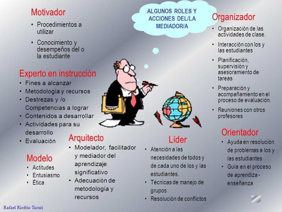 39 ALGUNOS ROLES Y ACCIONES DEL/LA MEDIADOR/A Motivador Procedimientos a utilizar Conocimiento y desempeños del o la estudiante Organizador Organización de las actividades de clase.