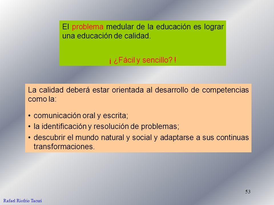 53 El problema medular de la educación es lograr una educación de calidad. La calidad deberá estar orientada al desarrollo de competencias como la: Ra