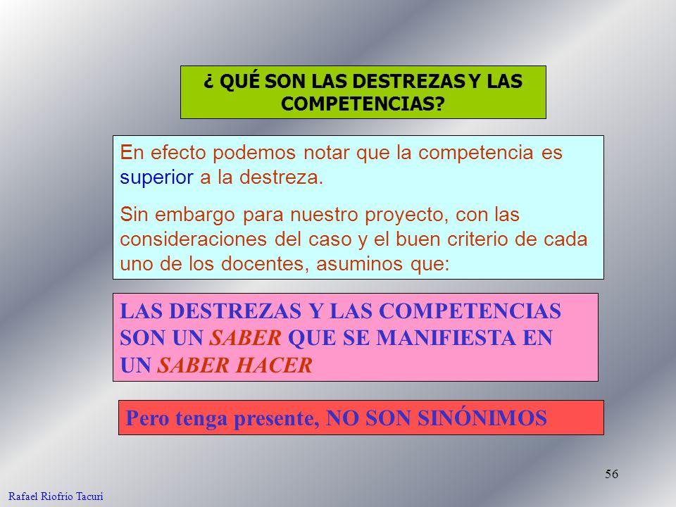 56 LAS DESTREZAS Y LAS COMPETENCIAS SON UN SABER QUE SE MANIFIESTA EN UN SABER HACER En efecto podemos notar que la competencia es superior a la destreza.