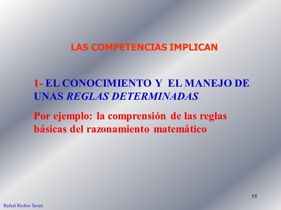 58 1- EL CONOCIMIENTO Y EL MANEJO DE UNAS REGLAS DETERMINADAS. Por ejemplo: la comprensión de las reglas básicas del razonamiento matemático LAS COMPE