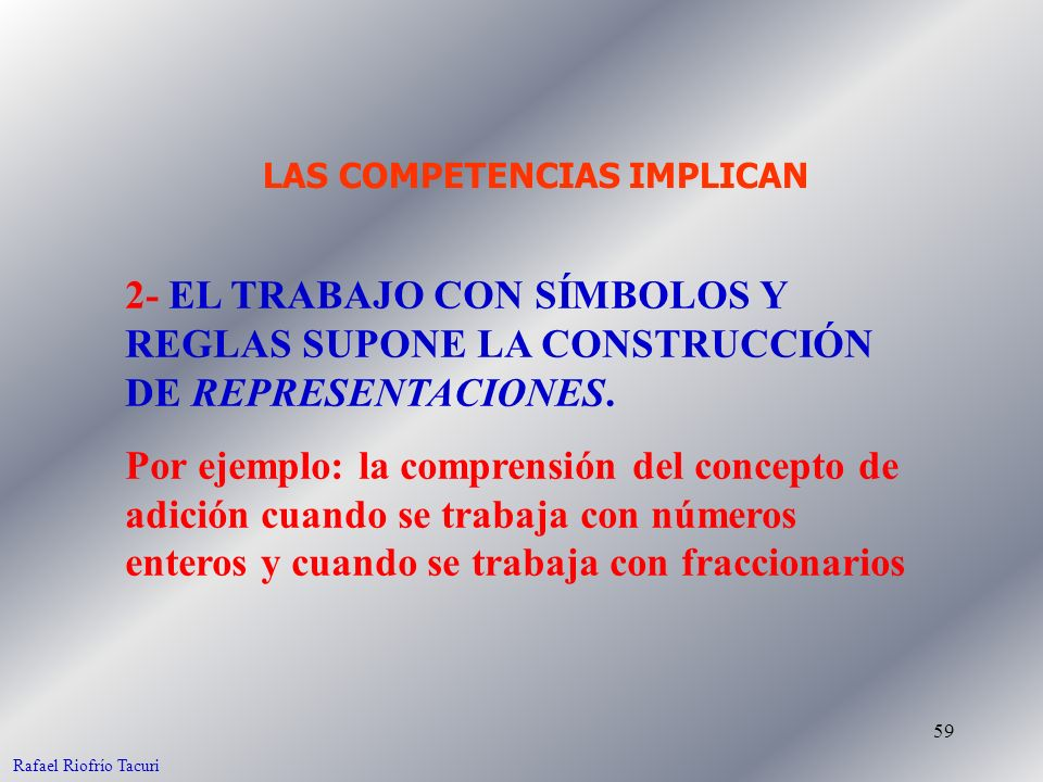 59 2- EL TRABAJO CON SÍMBOLOS Y REGLAS SUPONE LA CONSTRUCCIÓN DE REPRESENTACIONES. Por ejemplo: la comprensión del concepto de adición cuando se traba