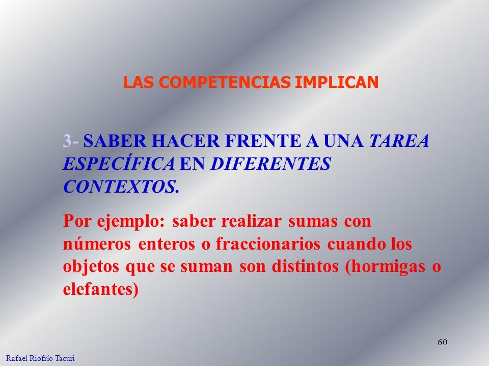 60 3- SABER HACER FRENTE A UNA TAREA ESPECÍFICA EN DIFERENTES CONTEXTOS. Por ejemplo: saber realizar sumas con números enteros o fraccionarios cuando
