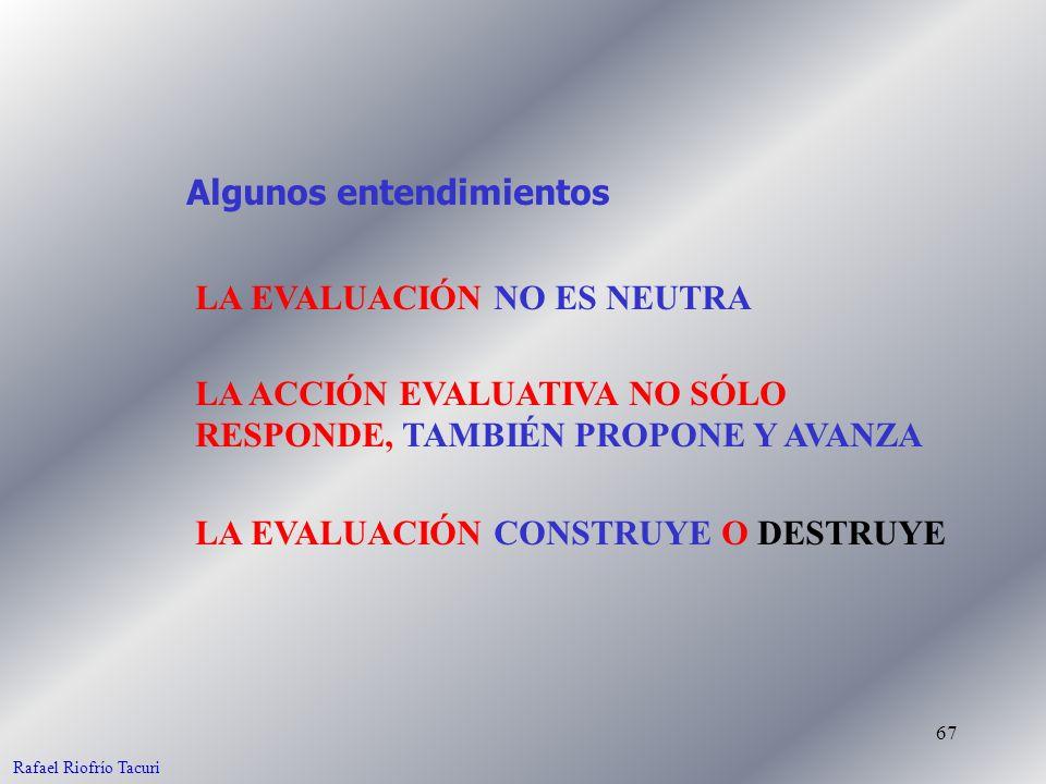 67 LA EVALUACIÓN NO ES NEUTRA LA EVALUACIÓN CONSTRUYE O DESTRUYE Algunos entendimientos LA ACCIÓN EVALUATIVA NO SÓLO RESPONDE, TAMBIÉN PROPONE Y AVANZA Rafael Riofrío Tacuri