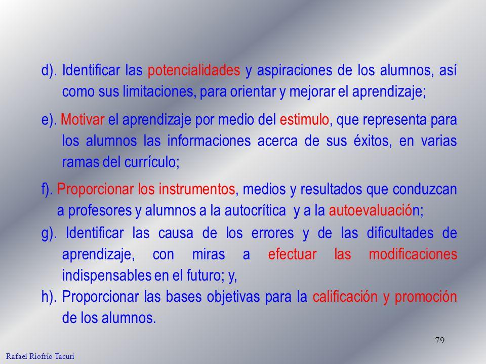 79 Rafael Riofrío Tacuri d). Identificar las potencialidades y aspiraciones de los alumnos, así como sus limitaciones, para orientar y mejorar el apre