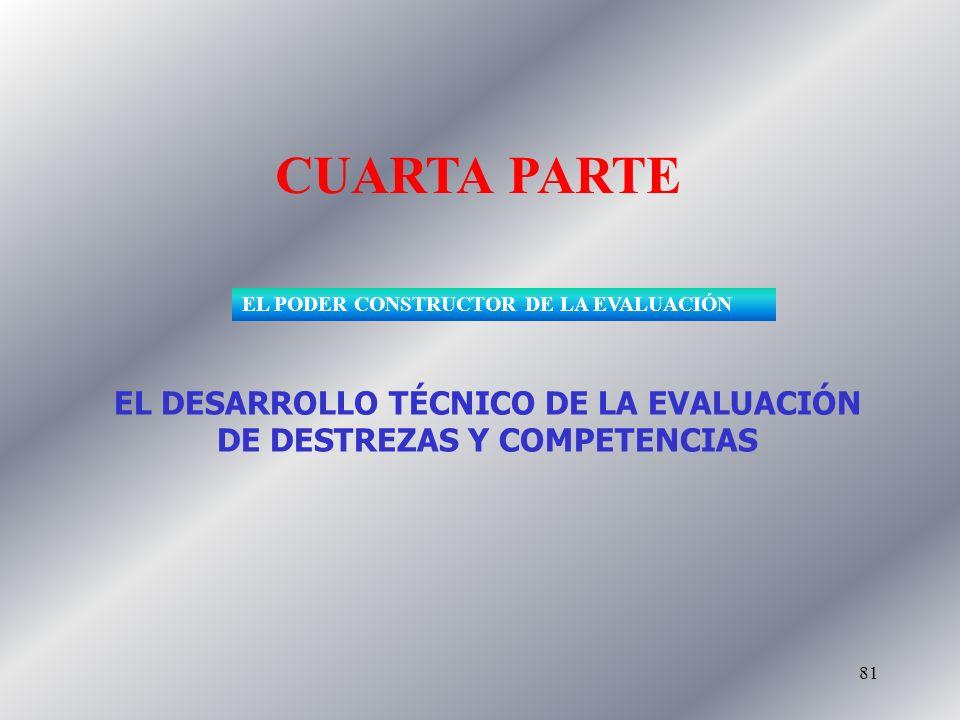 81 CUARTA PARTE EL DESARROLLO TÉCNICO DE LA EVALUACIÓN DE DESTREZAS Y COMPETENCIAS EL PODER CONSTRUCTOR DE LA EVALUACIÓN