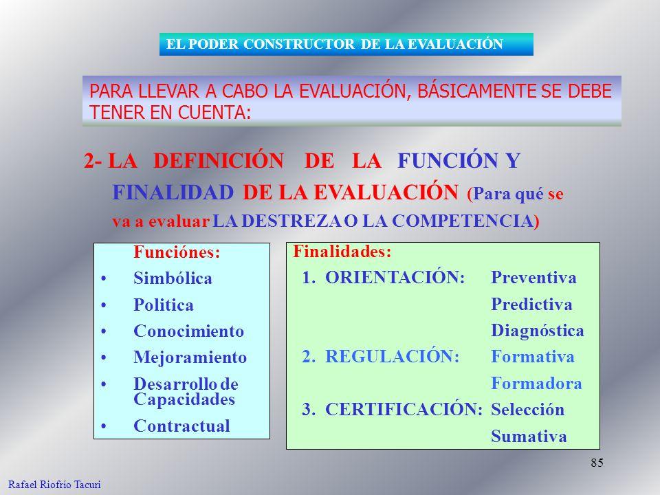 85 2- LA DEFINICIÓN DE LA FUNCIÓN Y FINALIDAD DE LA EVALUACIÓN (Para qué se va a evaluar LA DESTREZA O LA COMPETENCIA) Funciónes: Simbólica Politica C