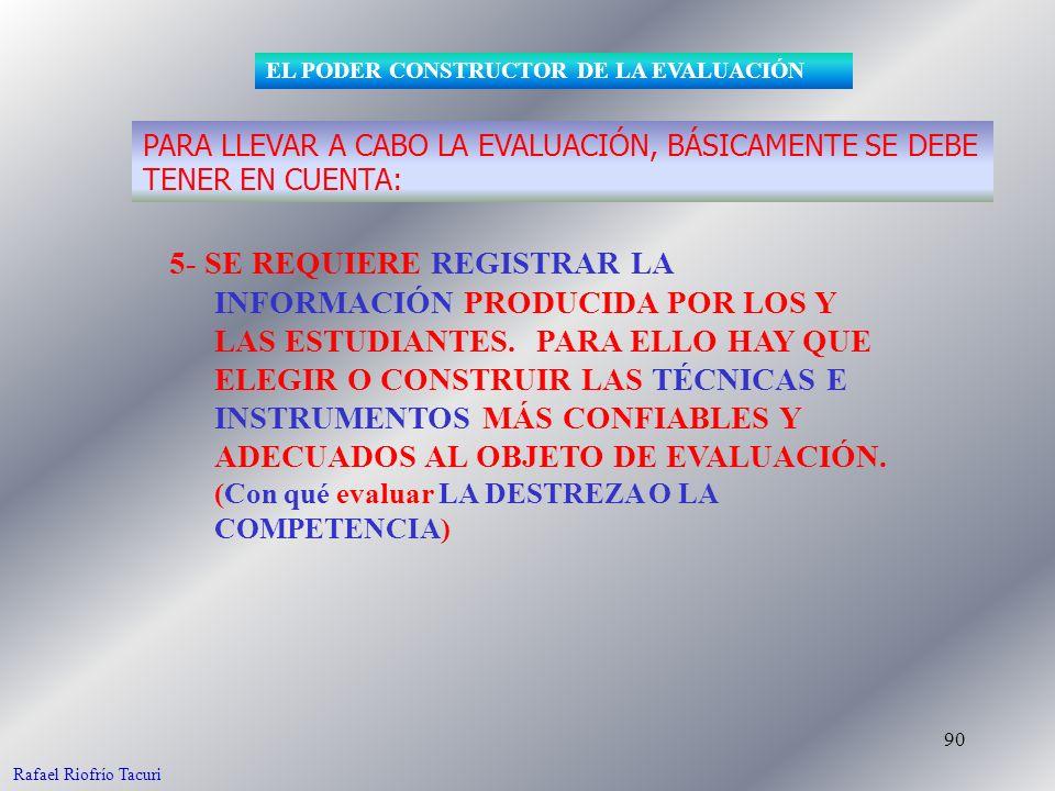 90 5- SE REQUIERE REGISTRAR LA INFORMACIÓN PRODUCIDA POR LOS Y LAS ESTUDIANTES.