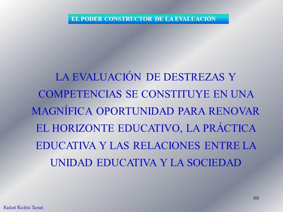 99 LA EVALUACIÓN DE DESTREZAS Y COMPETENCIAS SE CONSTITUYE EN UNA MAGNÍFICA OPORTUNIDAD PARA RENOVAR EL HORIZONTE EDUCATIVO, LA PRÁCTICA EDUCATIVA Y LAS RELACIONES ENTRE LA UNIDAD EDUCATIVA Y LA SOCIEDAD EL PODER CONSTRUCTOR DE LA EVALUACIÓN Rafael Riofrío Tacuri