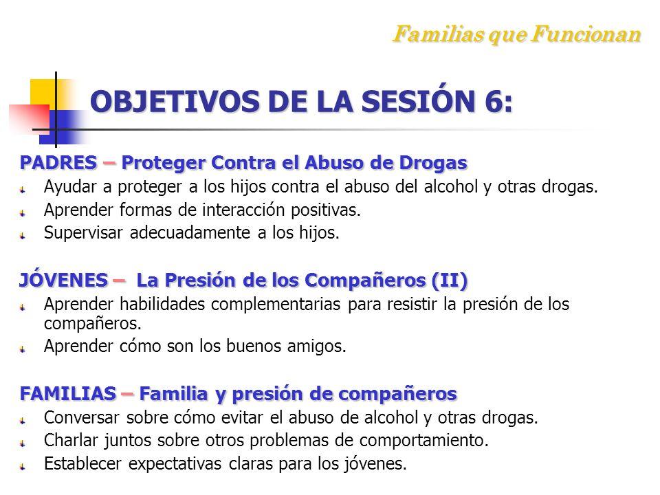 F amilias que Funcionan OBJETIVOS DE LA SESIÓN 6: PADRES – Proteger Contra el Abuso de Drogas Ayudar a proteger a los hijos contra el abuso del alcohol y otras drogas.