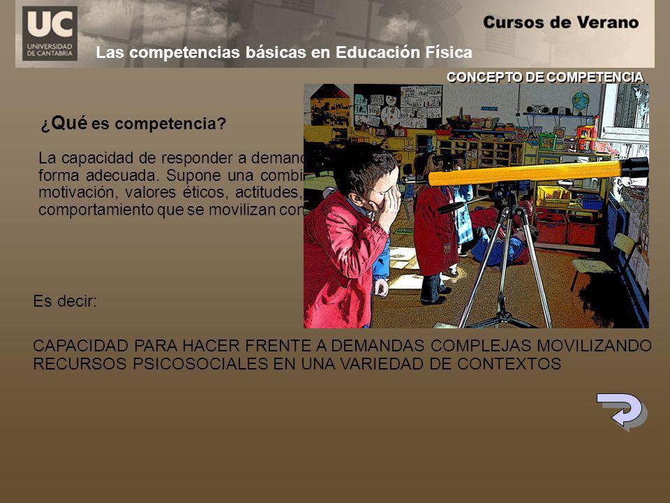 Las competencias básicas en Educación Física ¿ Qué es competencia? La capacidad de responder a demandas complejas y llevar a cabo tareas diversas de f