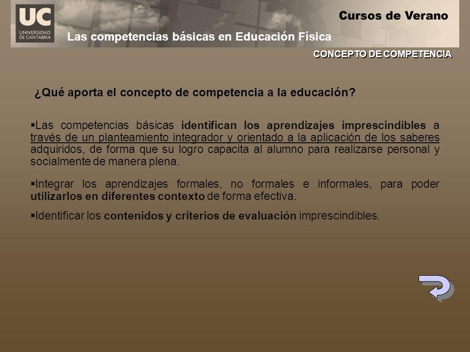 Las competencias básicas en Educación Física Las competencias básicas identifican los aprendizajes imprescindibles a través de un planteamiento integr
