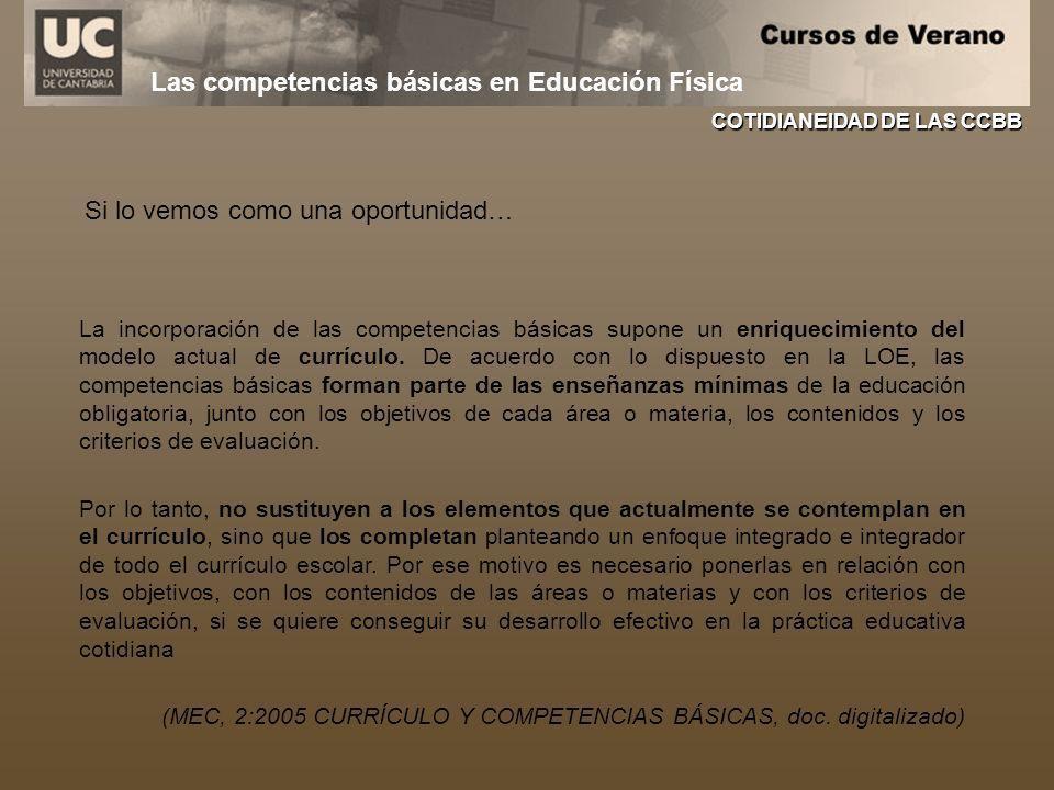 Las competencias básicas en Educación Física La incorporación de las competencias básicas supone un enriquecimiento del modelo actual de currículo. De