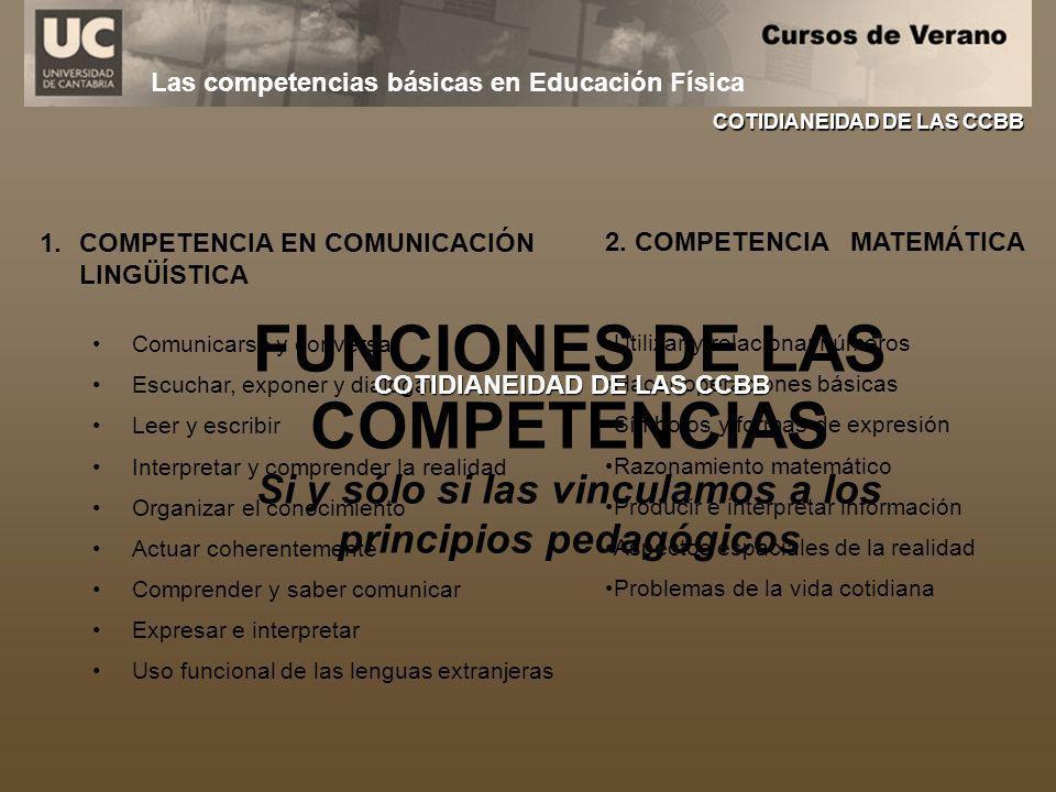 Las competencias básicas en Educación Física 1.COMPETENCIA EN COMUNICACIÓN LINGÜÍSTICA Comunicarse y conversar Escuchar, exponer y dialogar Leer y esc