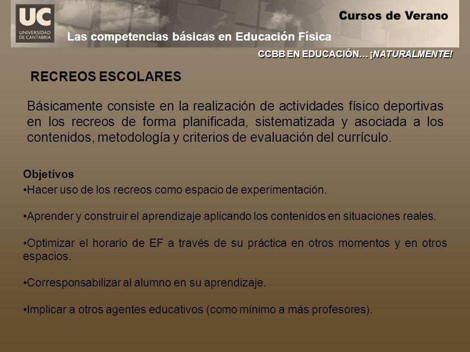 Las competencias básicas en Educación Física CCBB EN EDUCACIÓN… ¡NATURALMENTE! RECREOS ESCOLARES Básicamente consiste en la realización de actividades