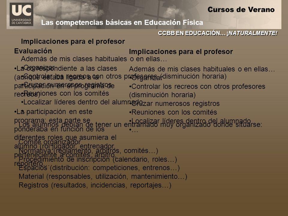 Las competencias básicas en Educación Física CCBB EN EDUCACIÓN… ¡NATURALMENTE! Evaluación La correspondiente a las clases (aunque estaba ligada a la p