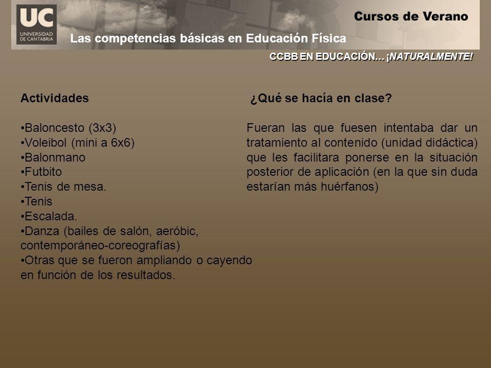 Las competencias básicas en Educación Física CCBB EN EDUCACIÓN… ¡NATURALMENTE! Actividades Baloncesto (3x3) Voleibol (mini a 6x6) Balonmano Futbito Te
