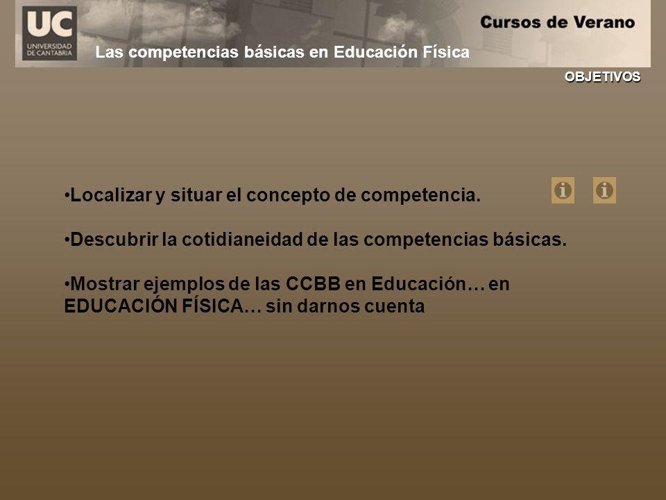 Las competencias básicas en Educación Física Localizar y situar el concepto de competencia. Descubrir la cotidianeidad de las competencias básicas. Mo