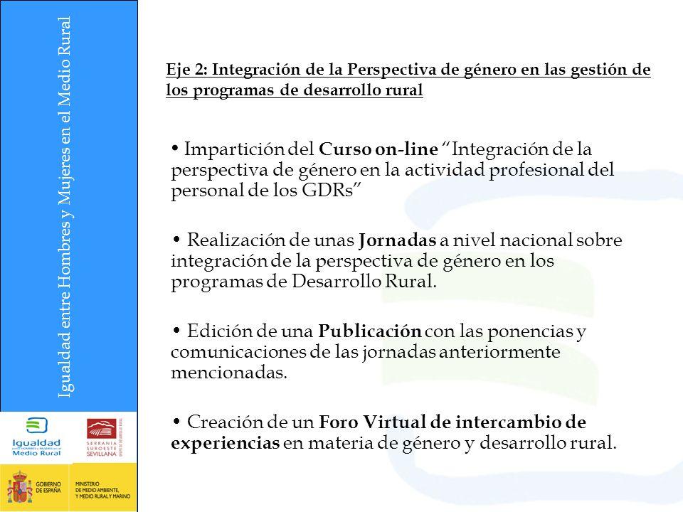 Eje 2: Integración de la Perspectiva de género en las gestión de los programas de desarrollo rural Impartición del Curso on-line Integración de la perspectiva de género en la actividad profesional del personal de los GDRs Realización de unas Jornadas a nivel nacional sobre integración de la perspectiva de género en los programas de Desarrollo Rural.