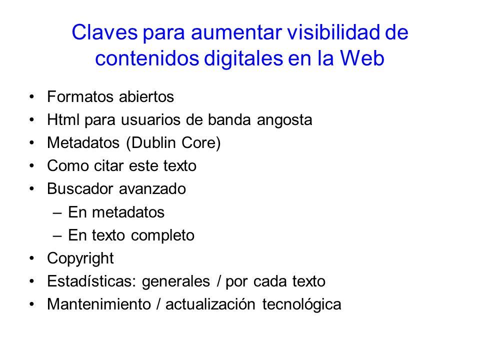 Claves para aumentar visibilidad de contenidos digitales en la Web Formatos abiertos Html para usuarios de banda angosta Metadatos (Dublin Core) Como citar este texto Buscador avanzado –En metadatos –En texto completo Copyright Estadísticas: generales / por cada texto Mantenimiento / actualización tecnológica