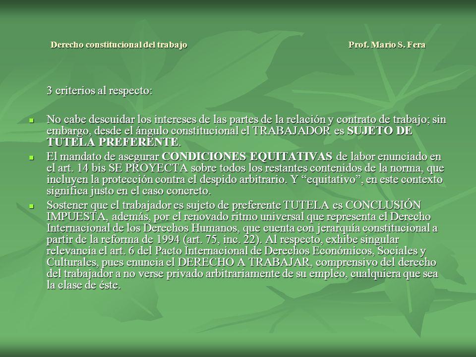 Derecho constitucional del trabajo Prof.Mario S.