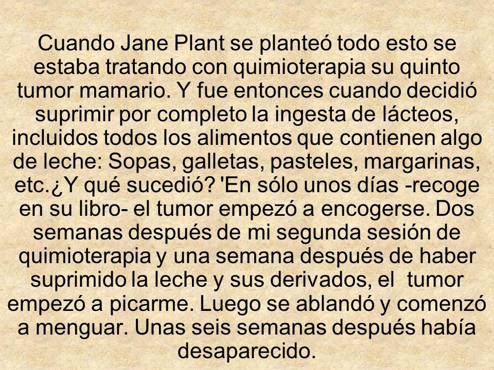 Cuando Jane Plant se planteó todo esto se estaba tratando con quimioterapia su quinto tumor mamario. Y fue entonces cuando decidió suprimir por comple