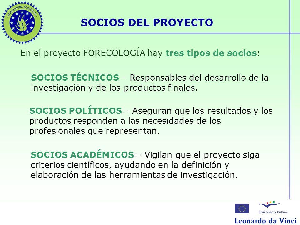 SOCIOS DEL PROYECTO En el proyecto FORECOLOGÍA hay tres tipos de socios: SOCIOS TÉCNICOS – Responsables del desarrollo de la investigación y de los pr