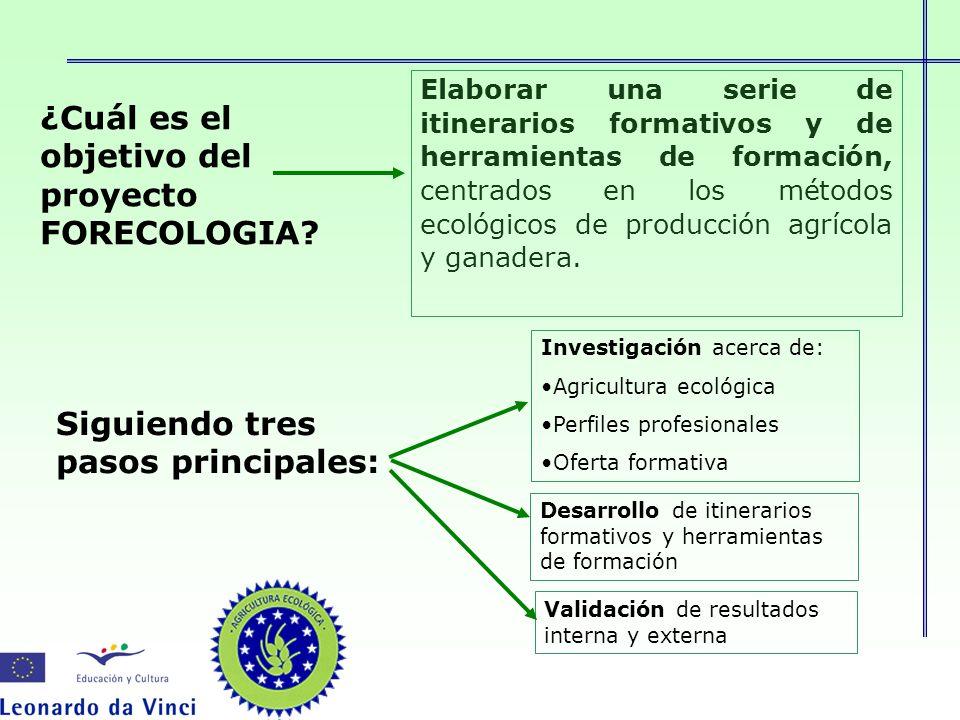 ¿Cuál es el objetivo del proyecto FORECOLOGIA? Elaborar una serie de itinerarios formativos y de herramientas de formación, centrados en los métodos e