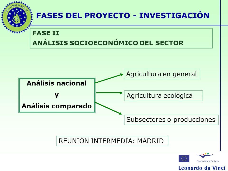 FASES DEL PROYECTO - INVESTIGACIÓN FASE II ANÁLISIS SOCIOECONÓMICO DEL SECTOR Análisis nacional y Análisis comparado Agricultura en general Agricultur