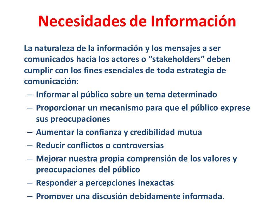 La naturaleza de la información y los mensajes a ser comunicados hacia los actores o stakeholders deben cumplir con los fines esenciales de toda estra