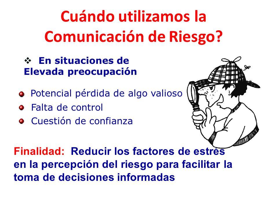 En situaciones de Elevada preocupación Potencial pérdida de algo valioso Falta de control Cuestión de confianza Cuándo utilizamos la Comunicación de R