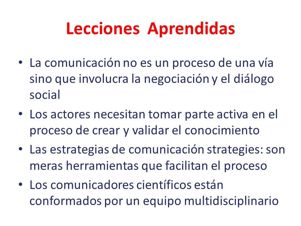 Lecciones Aprendidas La comunicación no es un proceso de una vía sino que involucra la negociación y el diálogo social Los actores necesitan tomar par