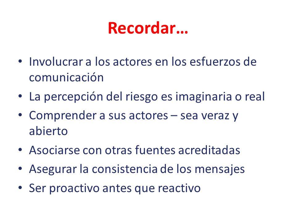 Recordar… Involucrar a los actores en los esfuerzos de comunicación La percepción del riesgo es imaginaria o real Comprender a sus actores – sea veraz