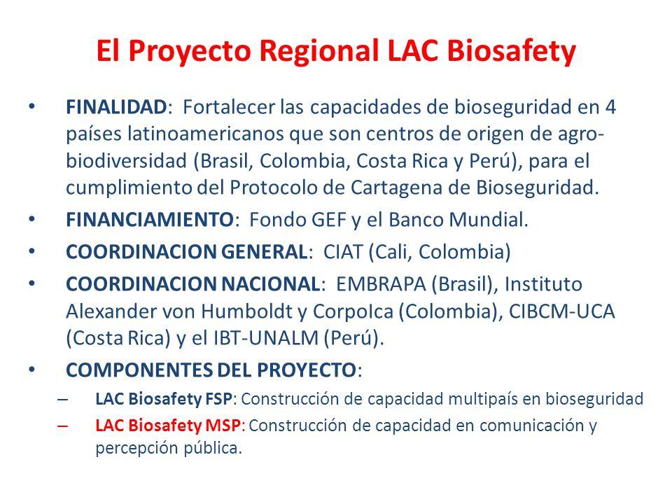 El Proyecto Regional LAC Biosafety FINALIDAD: Fortalecer las capacidades de bioseguridad en 4 países latinoamericanos que son centros de origen de agr
