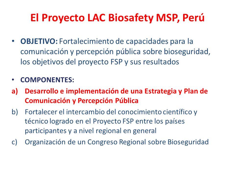El Proyecto LAC Biosafety MSP, Perú OBJETIVO: Fortalecimiento de capacidades para la comunicación y percepción pública sobre bioseguridad, los objetiv