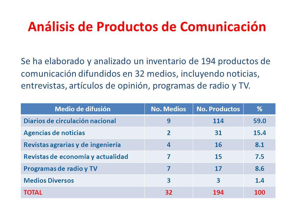 Se ha elaborado y analizado un inventario de 194 productos de comunicación difundidos en 32 medios, incluyendo noticias, entrevistas, artículos de opi