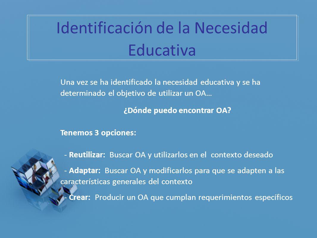 Una vez se ha identificado la necesidad educativa y se ha determinado el objetivo de utilizar un OA… ¿Dónde puedo encontrar OA? Tenemos 3 opciones: -
