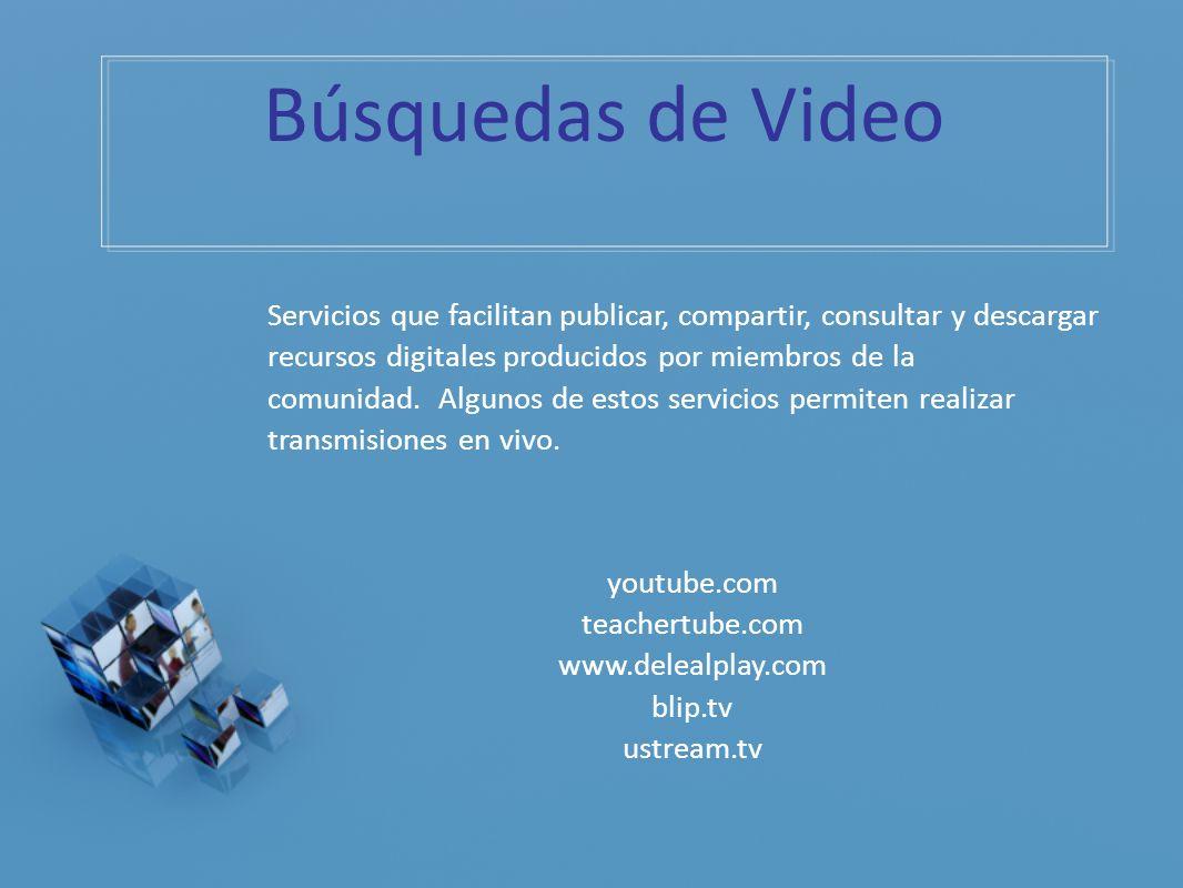 Búsquedas de Video Servicios que facilitan publicar, compartir, consultar y descargar recursos digitales producidos por miembros de la comunidad. Algu
