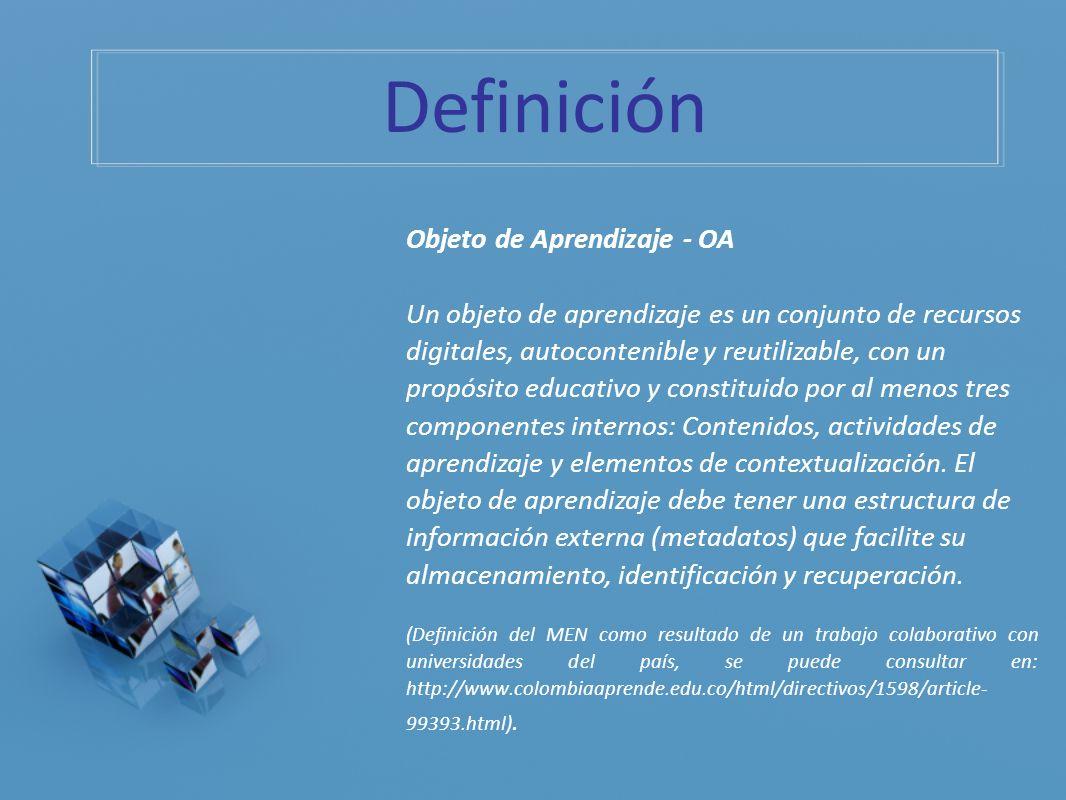 Definición Objeto de Aprendizaje - OA Un objeto de aprendizaje es un conjunto de recursos digitales, autocontenible y reutilizable, con un propósito e