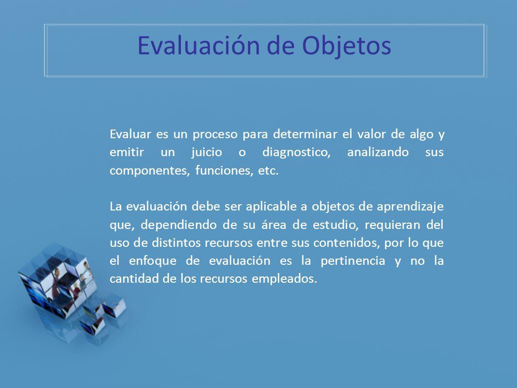 Evaluación de Objetos Evaluar es un proceso para determinar el valor de algo y emitir un juicio o diagnostico, analizando sus componentes, funciones,